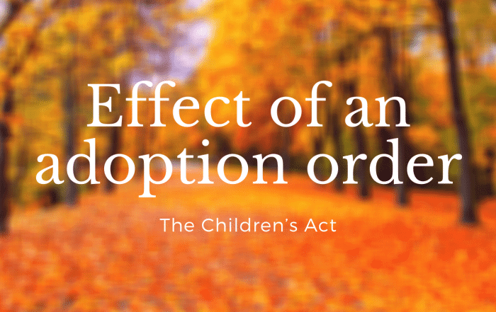 Effect of an adoption order